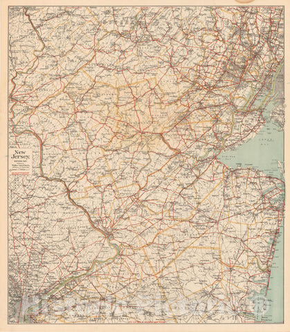 Historic Map : New Jersey 1900 , Northeast U.S. State & City Maps , Vintage Wall Art