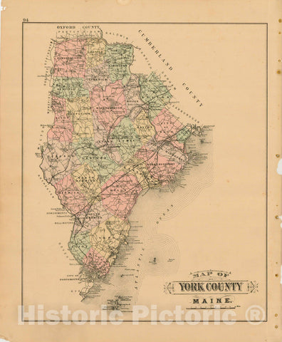 Historic Map : Atlas State of Maine, York 1894-95 , Vintage Wall Art