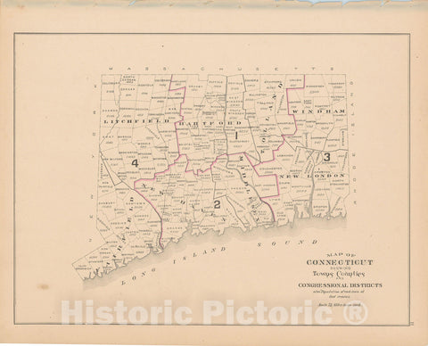 Historic Map : Town and City Atlas State of Connecticut, Connecticut 1893 , Vintage Wall Art