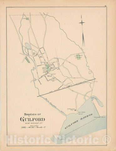 Historic Map : Guilford 1893 , Town and City Atlas State of Connecticut , Vintage Wall Art