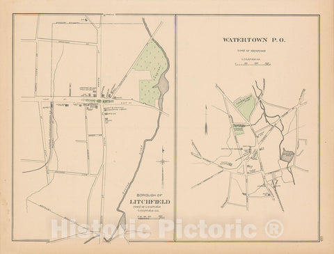 Historic Map : Litchfield & Watertown 1893 , Town and City Atlas State of Connecticut , Vintage Wall Art