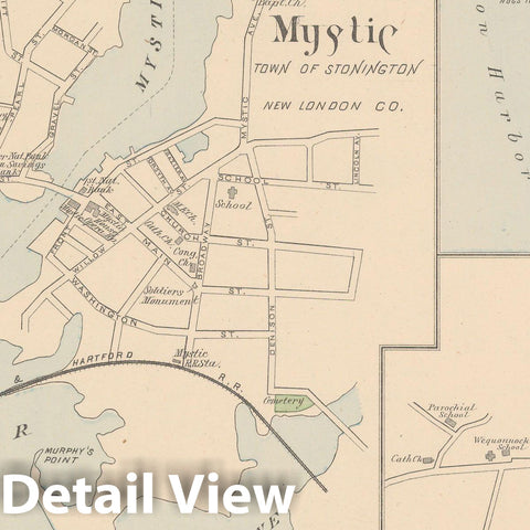 Historic Map : Groton & Mystic & Norwich & Stonington 1893 , Town and City Atlas State of Connecticut , Vintage Wall Art