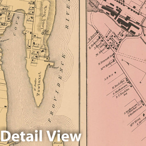 Historic Map : Atlas State of Rhode Island, Knightsville & Pawtuxet 1870 , Vintage Wall Art