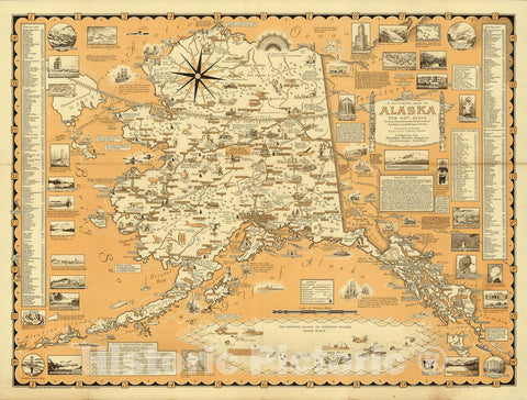 Historic Map : Pictorial Map of Alaska, the 49th State, 1959 - Vintage Wall Art