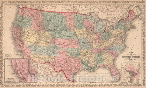 Historic Map : A new map of the United States of America. By J.H. Young, 1859 - Vintage Wall Art