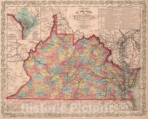 Historic Map : A New Map of the State of Virginia : Published by Charles Desilver, 1859 - Vintage Wall Art