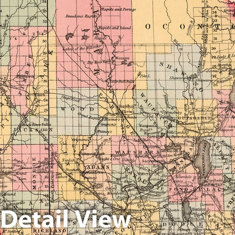 Historic Map : A New Map of the State of Wisconsin : Published by Charles Desilver, 1859 - Vintage Wall Art