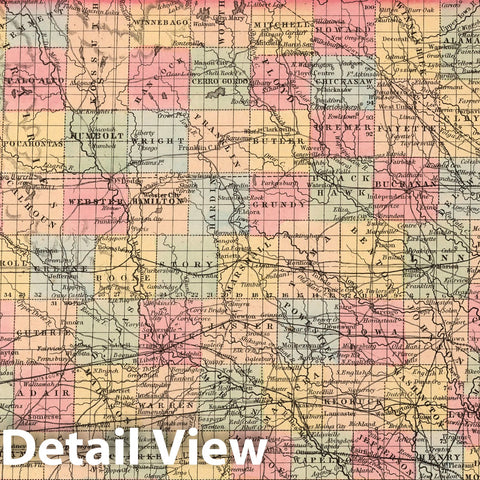 Historic Map : A New Map of the State of Iowa : Published by Charles Desilver, 1859 - Vintage Wall Art