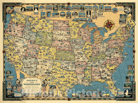 Historic Map - America The Wonderland - A Pictorial Map of The United States, 1941, Ernest Dudley Chase - Vintage Wall Art