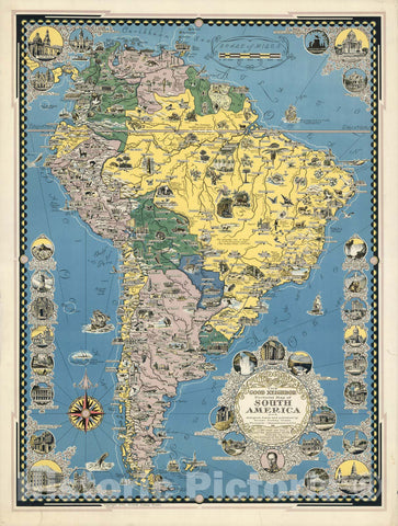 Historic Map : The Good Neighbor Pictorial Map of South America, 1942 - Vintage Wall Art
