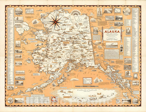 Historic Map : Pictorial Map of Alaska, the 49th State, 1965 - Vintage Wall Art