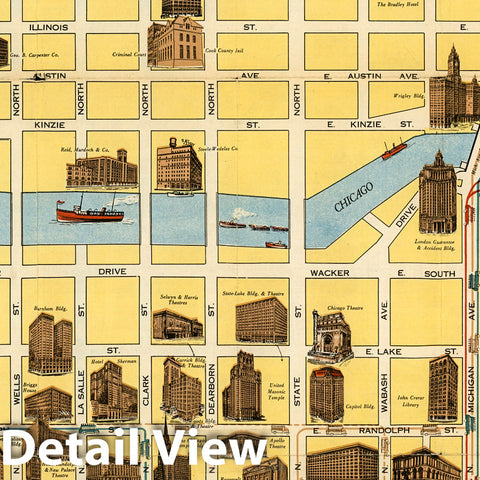 Historic Map - Chicago Motor Coach Pictorial Map of Downtown Chicago, 1940, The Clason Map Company - Vintage Wall Art