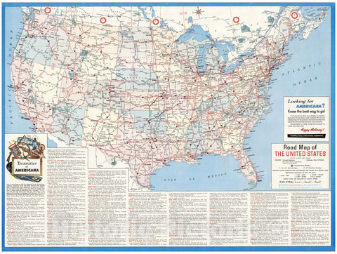 Historic Map - Road map of the United States. Except Alaska and Hawaii. MCMLXII (1962), 1960 - Vintage Wall Art