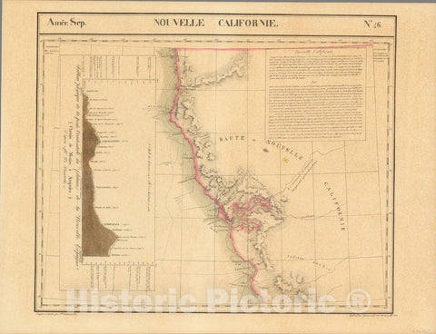 Historic Map : Mexico, Arizona, Sonora (Mexico : State) Nouvelle Californie. Amer. Sep. 46. 1825 , Vintage Wall Art