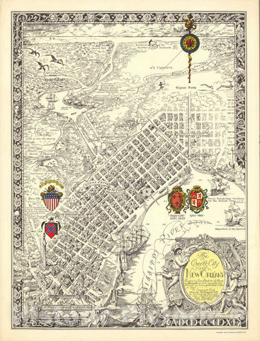Historic Map - The creole city of New Orleans 1930 - Vintage Wall Art