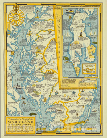 Historical Map of the Maryland Eastern Shore, the Chesapeake Bay Country, 1957 - Vintage Wall Art