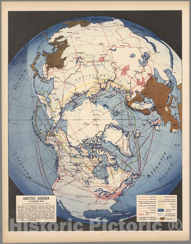 Historic Map : Arctic Arena of World War II. 1942 - Vintage Wall Art