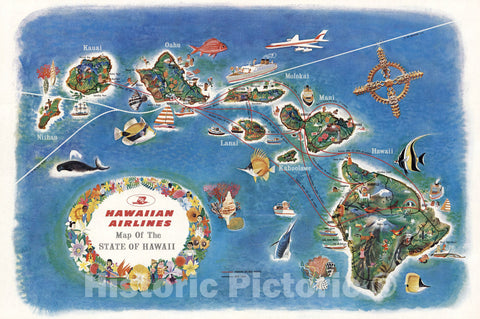 Historic Wall Map : Hawaiian Airlines Map of the State of Hawaii, 1963 - Vintage Wall Art