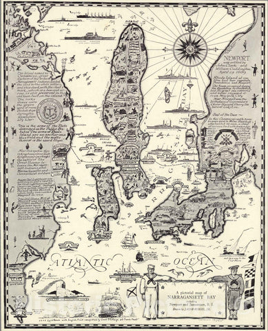 Historic Map - A pictorial map of Narragansett Bay, 1932, - Vintage Wall Art