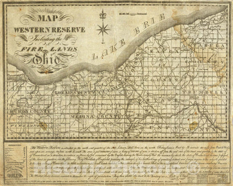 Historic Map - Map of The Western Reserve Including the Fire Lands In Ohio, 1833 - Vintage Wall Art