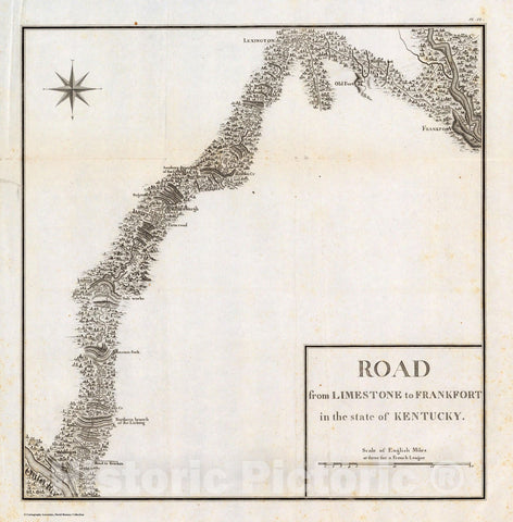 Historic Map : Road from Limestone to Frankfort in the state of Kentucky. 1796 - Vintage Wall Art