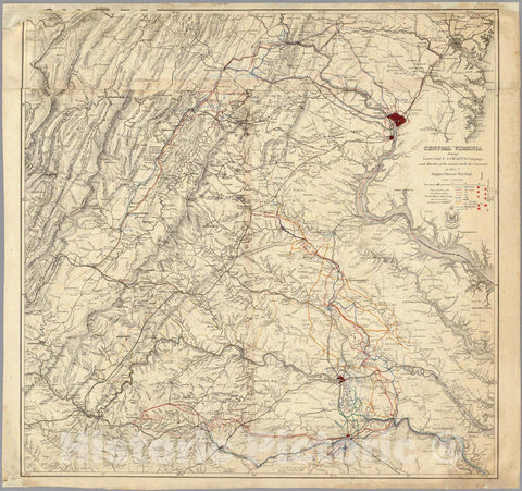 Historic Map : Central Virginia showing Lieut Gen'l U.S. Grant's Campaign and Marches. 1865 - Vintage Wall Art