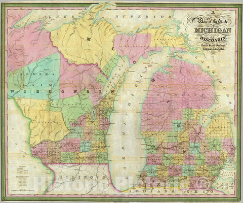 Historic Map : Map of the State of Michigan and Territory of Wisconsin, 1839 - Vintage Wall Art
