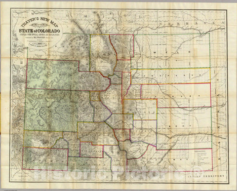Historic Map : Thayer's New Map of The State of Colorado, 1880 - Vintage Wall Art