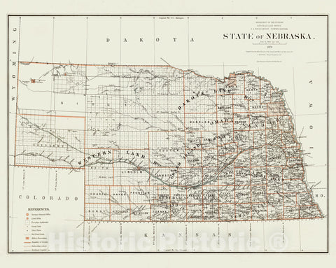 Historic Map - Department of The Interior General Land office Map - State of Nebraska. 1879 - Vintage Wall Art