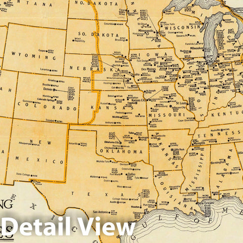 Historic Map : Pocket Map, Radio Broadcasting Stations of The United States. 1930 - Vintage Wall Art