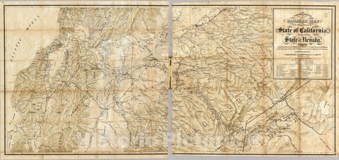 Historic Map : Pocket Map, The Central Part of the State of California. 1865 - Vintage Wall Art