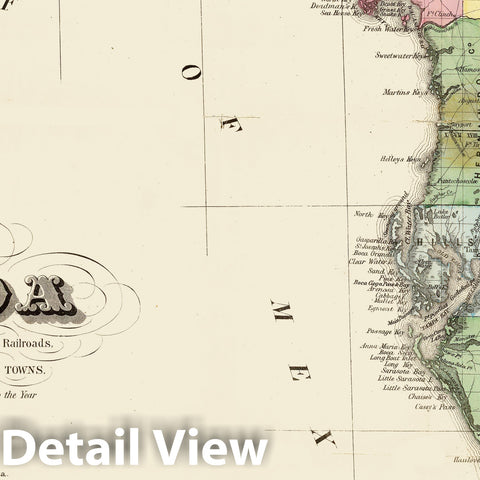 Historic Map - Drew's New Map of The State of Florida, 1870 - Vintage Wall Art