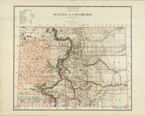 Historic Map : Department of The Interior General Land office Map - State of Colorado. 1879 - Vintage Wall Art
