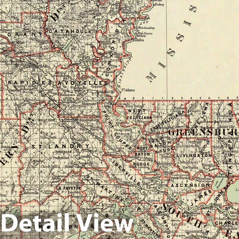 Historic Map : Department of The Interior General Land office Map - State of Louisiana. 1879 - Vintage Wall Art