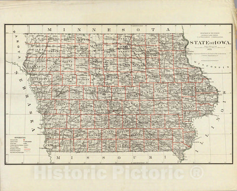 Historic Map : Department of The Interior General Land office Map - State of Iowa. 1878 - Vintage Wall Art