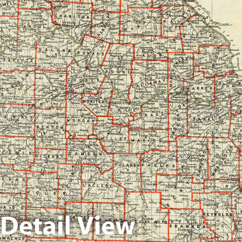 Historic Map : Department of The Interior General Land office Map - State of Missouri. 1878 - Vintage Wall Art