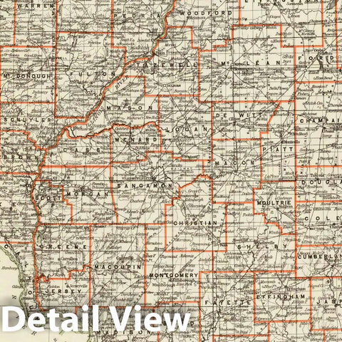 Historic Map : Department of The Interior General Land office Map - State of Illinois. 1878 - Vintage Wall Art