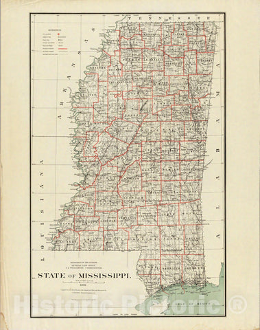 Historic Map : Department of The Interior General Land office Map - State of Mississippi. 1878 - Vintage Wall Art