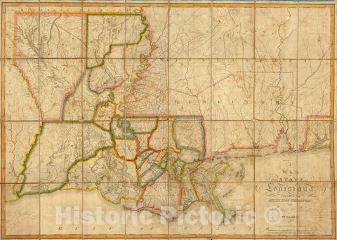 Historic Map : the State of Louisiana, 1816 - Vintage Wall Art