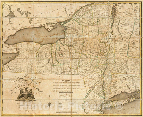 Historic Map : the State of New York, 1804 - Vintage Wall Art