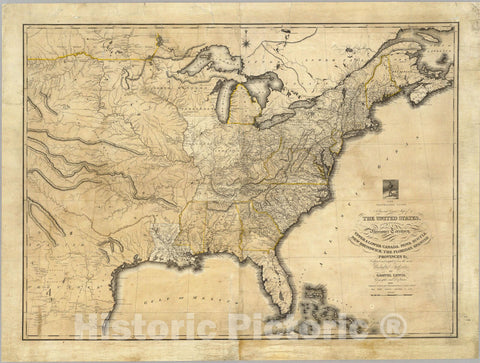 Historic Map : A new and correct map of the United States Upper & Lower Canada, 1819 - Vintage Wall Art