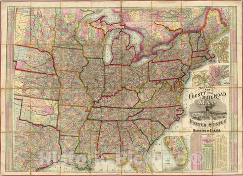 Historic Map : Watson's New County and Railroad Map of the United States, 1874 - Vintage Wall Art