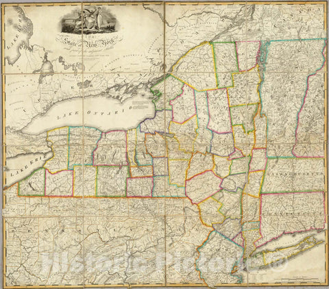 Historic Map : Case Map, State of New York with part of the adjacent States. 1818 - Vintage Wall Art