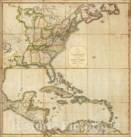 Historic Map : A Correct Map of the United States, 1817 - Vintage Wall Art