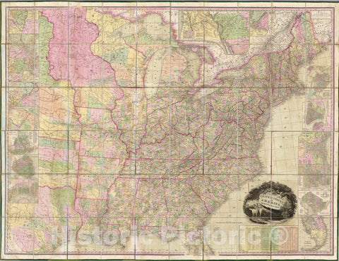 Historic Map : Case Map, United States of America. 1839 - Vintage Wall Art