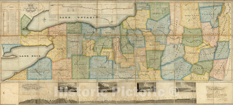 Historic Map : Map of the Western Part of the State of New York, 1825 - Vintage Wall Art