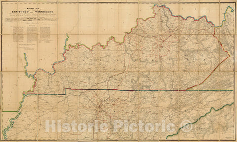 Historic Map : Military Map of the States of Kentucky and Tennessee, 1863 - Vintage Wall Art