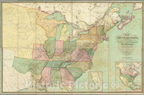 Historic Map : Map of the United States, 1827 - Vintage Wall Art