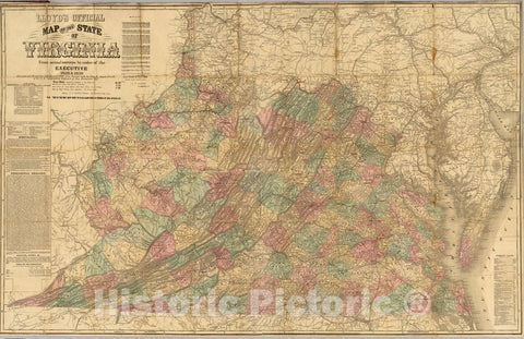 Historic Map : Lloyd's official map of the State of Virginia, 1862 - Vintage Wall Art
