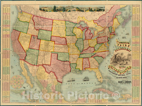 Historic Map : American Union Railroad Map of The United States, 1871 - Vintage Wall Art